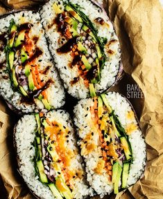 Onigirazu or onigiri sandwich Made with sushi rice and nori seaweed, stuffed with our choice, in this case vegetables Accompany it with a sauce of your choice and enjoy - food_drink Cucumber Recipes, Sushi Recipes, Asian Recipes, Whole Food Recipes, Vegetarian Recipes, Cooking Recipes, Healthy Recipes, Sushi Sandwich, Sushi Sushi