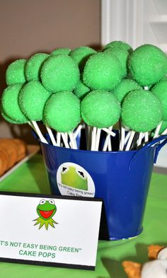 "Kermit ""It's not easy being green"" cake pops for your Kermit-themed party."