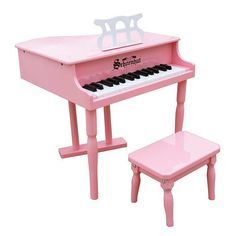 Schoenhut's miniature version of a baby grand piano is designed to encourage a child to play and develop a love of music. Elegant in appearance with graceful spindle legs, yet extremely durable and sturdy, it makes a beautiful addition to any home. Lovely chime-like tones are produced by small hammers striking metal rods, the sound that makes Schoenhut toy pianos unique.