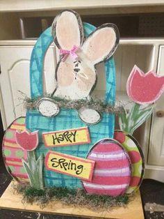 Easter Wood craft. Binnu in a basket of eggs
