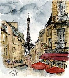 """Le Recrutement Café, Paris"" Watercolor Painting done by ~Floodfish~ (Jason Das) August 2010 Paris Kunst, Paris Art, Tour Eiffel, Maurice Utrillo, Art Watercolor, Georges Seurat, Paris Ville, Urban Sketchers, Oui Oui"