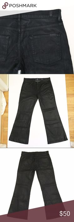 "7 For All Mankind ""Ginger"" Jeans Excellent, like-new condition ""ginger"". Zipper fly, wide leg with trouser hem. Color is a metallic-esque midnight blue-black. Inseam measures 30"" 7 For All Mankind Jeans Flare & Wide Leg"