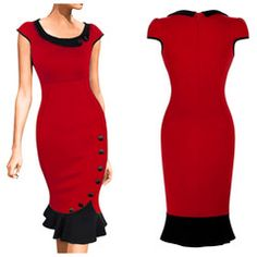 Let's be honest: this red and black pencil dress is a showstopper with its fabulous silhouette, contrasting collar and cheeky fishtail hem. Beautifully designed with pretty cap sleeves and decorative skirt and collar buttons. Modern Vintage Fashion, Vintage Inspired Fashion, 40s Fashion, Fashion Dresses, Deb Dresses, Lovely Dresses, Vintage Dresses, Classic Dresses, Black Pencil Dress