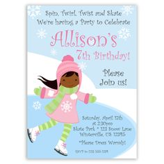 Ice Skating Invitation - Frozen Winter Pond and Snow, Cute Girl Ice Skater Personalized Birthday Party Invite - a Digital Printable File by PurpleBerryInk on Etsy https://www.etsy.com/ca/listing/122873462/ice-skating-invitation-frozen-winter