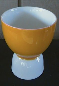 Double Egg Cup Porcelain One side holds single egg other side holds double