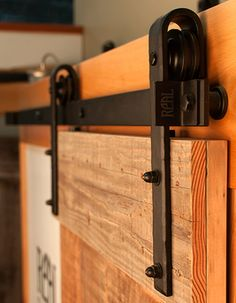 Black Hammered hardware on Salvage barn door