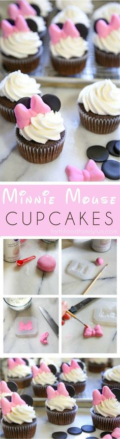 Made these Minnie Mouse Cupcakes for my 3-year-old niece and she absolutely LOVED them! (They were so easy!) #disney #minniemouse
