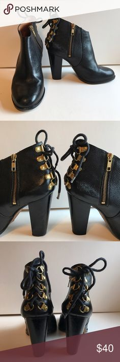 "Steven Alan Black Leather Booties With Back Lacing Steven Alan booties in black supple leather. Has back lacing with gold tone hardware. Side zip and a 4"" heel. There is some wear on the side of the heels (see pix) but still SO much life left. Please let me know if you need more pix or have any questions. All of my items come from a smoke/pet free home. I'm ready to get rid of everything so please make me an offer. Or better yet, bundle it, save more! Steven Alan Shoes Ankle Boots & Booties"