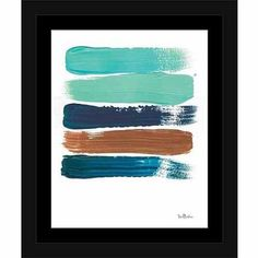 Paint Swatch Line Texture Contemporary Modern Trendy Abstract Painting Brown & Blue, Framed Canvas Art by Pied Piper Creative, Size: 16 x 20