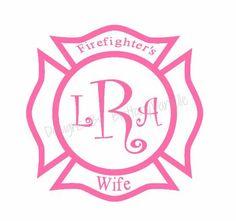 Firefighter Wife w/ initials Decal Fireman Wedding, Firefighter Wedding, Firefighter Family, Firefighters Wife, I Love My Hubby, Fire Fighters, Firefighting, Fire Dept, Vinyls