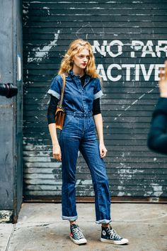 New York Fashion Week Street Style Is Here, So We've Got Like a Million Outfit Ideas Now New York Fashion Week Street Style, Spring Street Style, Denim Shirt Dress Outfit, Denim Jumpsuit, Overalls, Trousers, Denim Fashion, Fashion Outfits, Indigo
