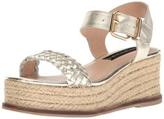 fe665f41a2cd Steven by Steve Madden womens sabble wedge sandal gold leather Gold Sandals