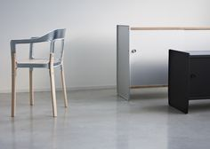 Theca and Steelwood Galva by Ronan and Erwan Bouroullec for Magis.  Combining an aluminium body and sliding doors with wooden shelves that bolt to the punched aluminium sides.