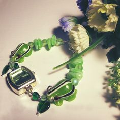 Beaded Watch in Spring Greens Lampwork Glass - Froggy Would aCourting Go
