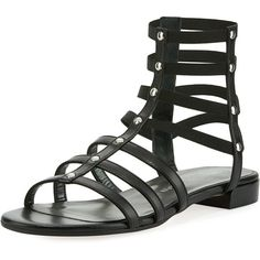 Stuart Weitzman Caesar Studded Gladiator Flat Sandal ($230) ❤ liked on Polyvore featuring shoes, sandals, black, flat sandals, strappy flat sandals, black gladiator sandals, studded gladiator sandals and black leather sandals