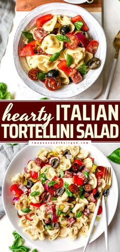 This easy 4th of July food will be one of the first to disappear! Loaded with Italian ingredients, this cheese tortellini salad recipe is hearty. Serve this summer salad as a side dish for parties or as a main dish! Easy Salad Recipes, Side Dish Recipes, Pasta Recipes, Healthy Recipes, Yummy Recipes, Side Dishes, Greek Tortellini Salad, Cheese Tortellini, Italian Chopped Salad