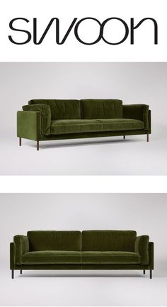 The Munich three-seater sofa in fern velvet. Sink into the Munich – a sleek contemporary sofa that effortlessly fuses style and comfort, perfect for modern design magpies that like to lounge. Available in 35 fabrics. Living Room Sofa, Home Living Room, Living Room Furniture, Living Room Designs, Living Room Decor, Kitchen Furniture, Outdoor Furniture, Sofa Design, Interior Design