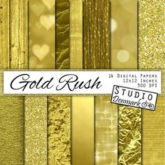 """Gold Digital Paper - """"Gold Rush"""" - Gold Foil / Glitter / Metallic Commercial Use Gold Backgrounds - Instant Download"""
