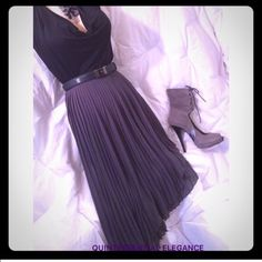 """✂️PRICE CUT✂️ ZARA Gray Pleated Asymmetrical Skirt Elegant, asymmetrical, high low, pleated gray skirt by Zara Collection. Polyester, half lined viscose, EUC. W 26"""" H 37"""" L 18"""" - 32"""". From my closet to yours! Zara Skirts Asymmetrical"""