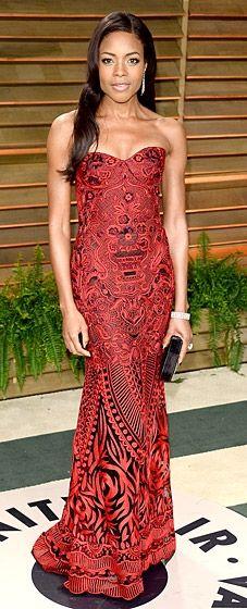 Naomie Harris wears a Naeem Khan dress to the 2014 Vanity Fair Oscar Party