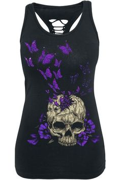 Butterfly Skull vest top ~ EMP Full Volume