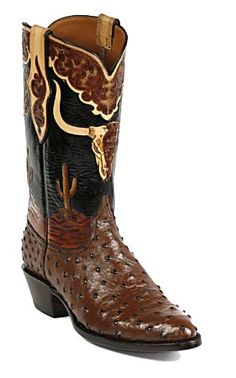 Black Jack Full Quill Ostrich Cowboy Boots with Hand Tooled top HT110 [Price: $1,517.00]