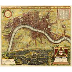 London, Old City Plan ca. 1700, Hollar, De La Feuille, De Ram, De Wit, Van Der Aa : All Maps