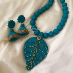 Handmade polymer clay necklace jhumka/ jhumki earring by Vibgyour