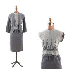 VINTAGE 60s Marie Phillips Gray WOOL Feather MAD MEN Embroidered Dress SUIT S