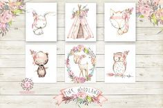 Boho Pink Fox Bunny Rabbit Teepee Wall Art Print Woodland Deer Bohemian Floral Nursery Baby Girl Room Bear Owl Arrow Printable Set Of 6 Decor