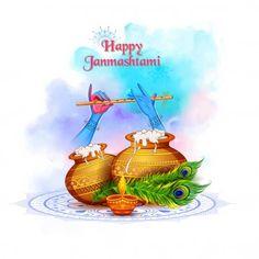 Lord Krishna playing bansuri flute in Happy Janmashtami festival background of India — Stock Illustration