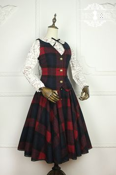 Miss Point -Literary Girl- Vintage Wool Lolita Vest and Skirt