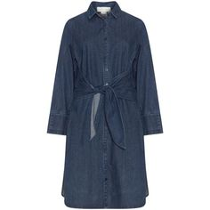 LOST INK Denim shirt dress (€54) ❤ liked on Polyvore featuring dresses, long denim shirt dress, lost ink dress, blue dresses, shirt dress and long shirt dress