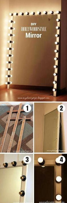 50 Fab DIY Mirror Frames You Can Easily Make Yourself - Check out how to make this DIY Hollywood style mirror with lights Hollywood Style Mirror, Hollywood Lights, Hollywood Vanity Mirror, Vanity Room, Vanity Mirrors, Vanity Decor, Dyi Makeup Vanity, Makeup Room Diy, Ikea Makeup
