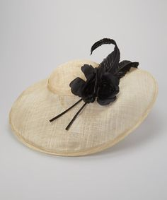 Natural & Black Sunhat & Headband by Jeanne Simmons Accessories $48.99 #Derby