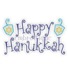 Happy Hannukkah - 6 Sizes! | Words and Phrases | Machine Embroidery Designs | SWAKembroidery.com Embroitique
