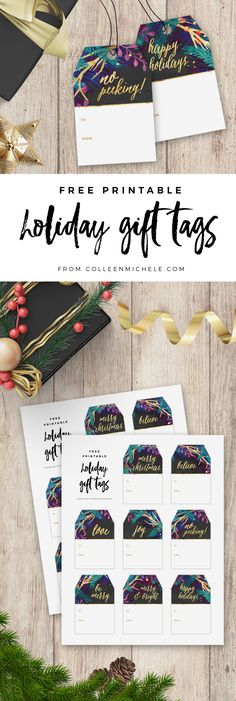 FREE Christmas gift tags printable! Gold and jewel tone Merry Botanicals design with holiday greetings in shiny gold script and a space to write your name. 8 different greetings on coordinating holiday gift tags. Click through to download the FREE gift tag printable PDF!