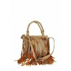 Liquorish Beige Shopper Bag With Long Fringes