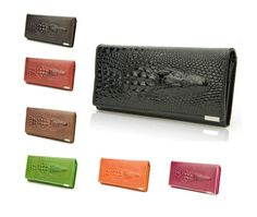 Women Leather Clutch Wallet Crocodile Classic Purse Coin Credit Card Holder