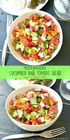 Mediterranean Cucumber and Tomato Salad is healthy and easy to make with only a few basic ingredients. It's naturally vegan and gluten-free. via @VeggiesSave