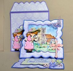 FIRST HOLY COMMUNION Easel Card Kit Decoupage on Craftsuprint designed by Janet Briggs - made by Kristina Norbat