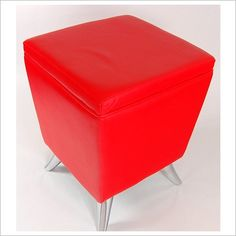 Square Faux Leather Ottoman in Red Mondo Gifts