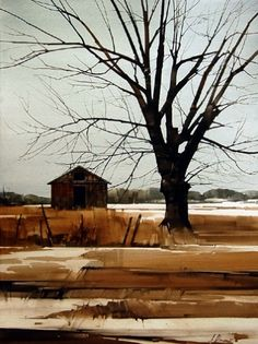 Outpost by Joseph Alleman, Watercolor, 30 x 22 Watercolor Barns, Watercolor Trees, Watercolor Drawing, Watercolor Landscape, Painting & Drawing, Landscape Photos, Landscape Art, Landscape Paintings, Gravure Photo