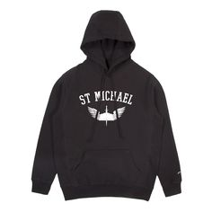 Large  https://noahny.com/products/st-michael-hoodie?variant=32900951055   Made in Canada. 100% Cotton 12 oz fleece.   St Michaellogo on a heavy-duty pullover hoodie. Our logo in honor of the Archangel who leads God's army against Satan and the forces of evil. St Michael's legendary wings and sword are accompanied by a book of knowledge which allows us to identify evil when we see it.
