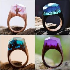Wood and resin rings handmade by @secret.wood