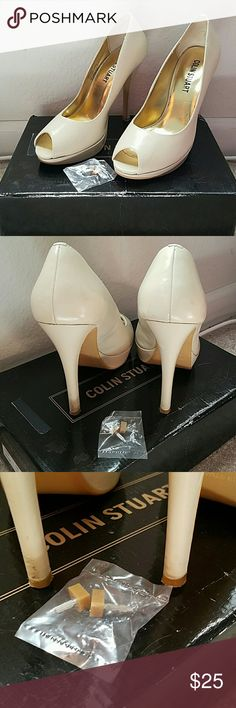 """Open-Toed Heels 3-3/4"""" Cream Colored Open-Toed Heel. 3/4"""" platform. Comes with an extra set of taps. Slight marring on the left heel as pictured.  Smoke-free and pet-free home. Colin Stuart Shoes Heels"""