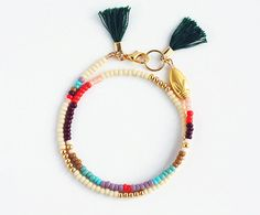 Beaded Wrap Bracelet - Tribal Friendship Bracelet - Tassel Bracelet - Cream Coral Peach Light Purple Turquoise Mint Green Chocolate Gold