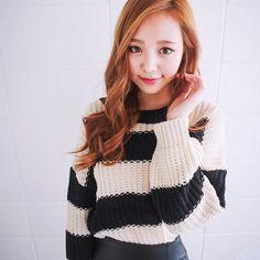 Qnigirls New Womens Sugar Powder Weaving Striped Knit Sweater Cute Lovely Style #Qnigirls #BoatNeck