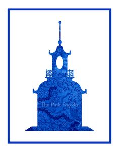 Wouldn't this pagoda giclee from The Pink Pagoda be great framed in a blue and white bedroom?