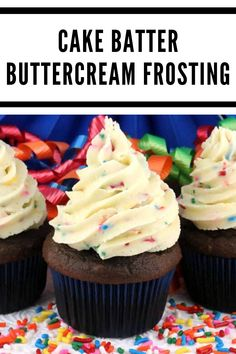Cake Batter Buttercream Frosting: Cake Batter Buttercream Frosting - a creamy buttercream frosting flavored with cake mix and sprinkles that is perfect for a fun birthday celebration. Best Frosting Recipe, Homemade Frosting, Homemade Butter, Frosting Recipes, Buttercream Frosting, Cake Recipes For Kids, Sheet Cake Recipes, Cake Recipes From Scratch, Easy Cake Recipes